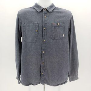 Vans Blue & Off-White Thick Button Down Shirt Med